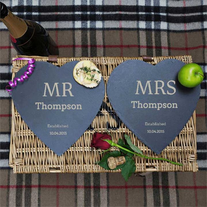 Established Mr & Mrs Heart Slate Pair