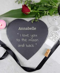 To The Moon And Back Heart Slate