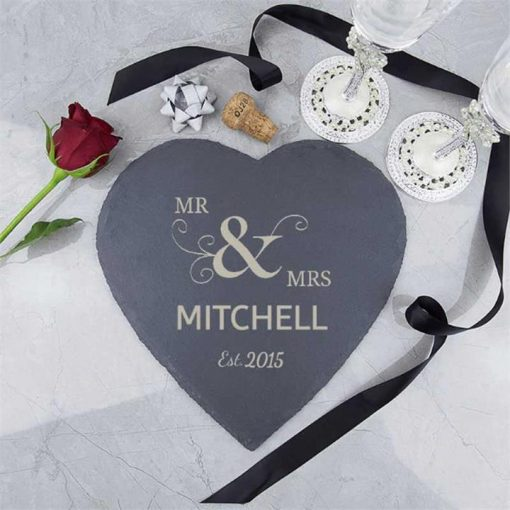 Mr & Mrs Personalised Slate Heart