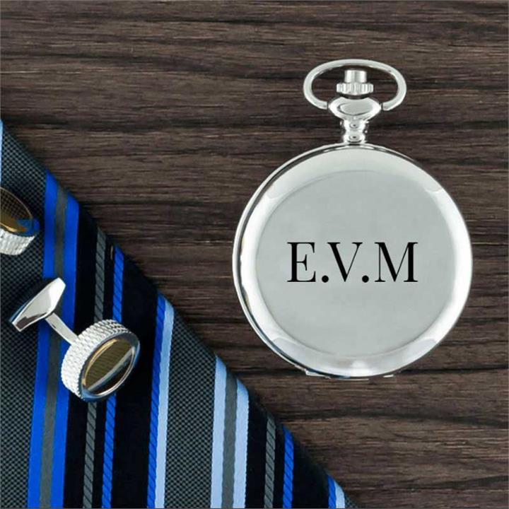 Traditional Monogram Silver Covered Pocket Watch
