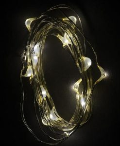 20 Warm White Battery Powered LED Micro Lights with Clear Wire - 1m