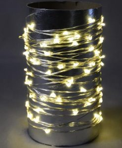 100 Warm White Battery Powered LED Micro Lights with Clear Wire - 8m