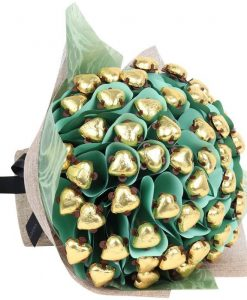 Sixty Hearts Golden Chocolate Bouquet
