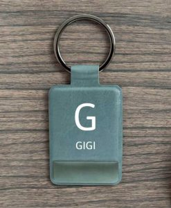 Personalised Initial and Name Grey Key Ring