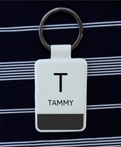 Personalised Initial and Name White Key Ring