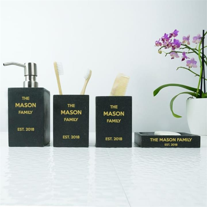 Their Personalised Black Sand Bathroom Set