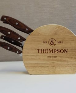 Mr & Mrs 5pc Wooden Knife Set
