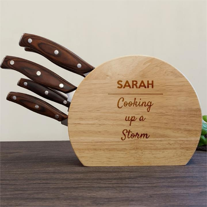 Cooking Up A Storm 5pc Wooden Knife Set