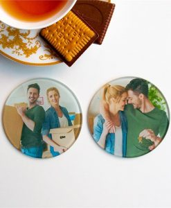 Round Glass Photo Coasters