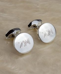 Silver Button Engraved Cufflinks