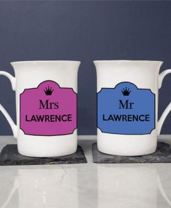 Personalised Mr and Mrs Bone China Mugs