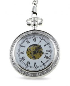 Classic Engraved Silver Skeleton Faced Pocket Watch