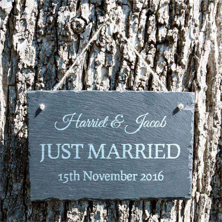 Personalised Just Married Scripted Slate Sign