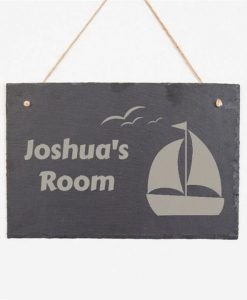 Personalised Child's Room Sailboat Slate Sign