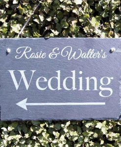 Wedding Arrow Personalised Slate Sign
