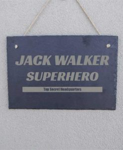 Superhero Headquarters Personalised Slate Sign