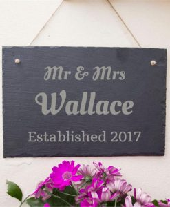 Wedding Date and Name Engraved Slate Sign