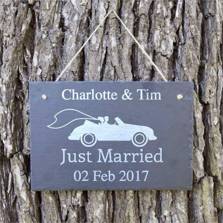 Just Married Car Personalised Slate Sign