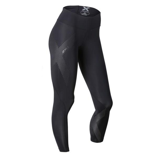 2XU Womens Mid-Rise Compression Tights - Dotted Reflective Logo
