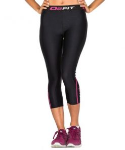 o2fit Womens Compression 3/4 Tights - Black/Pink