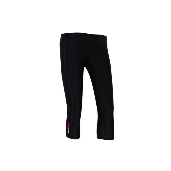 o2fit Womens High Waist Compression 3/4 Tights - Black/Pink