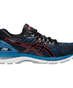 Asics Gel Nimbus 20 - Mens Running Shoes - Black/Azure/Red