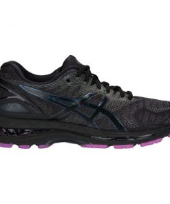 Asics Gel Nimbus 20 Lite-Show - Womens Running Shoes - Black/Purple + FREE SOCKS