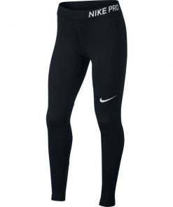 Nike Pro Kids Girls Full Length Training Tights - Black/White