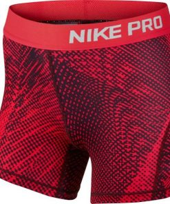 Nike Pro All Over Print Kids Girls Training Shorts - Red Mist/Silver