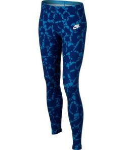 Nike Sportswear All Over Print Kids Girls Training Tights - Blue