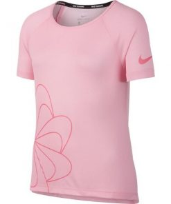 Nike Dri-Fit Breathe Graphic Kids Girls Running T-Shirt - Pink/White/Pink Nebula