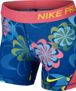 Nike Pro Cool All Over Print Kids Girls Training Shorts - Gym Blue/Pink Nebula/Yellow