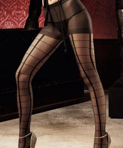 Baci Black Checkered Pantyhose