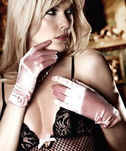 Baci Baby Pink Satin Ribbon Gloves