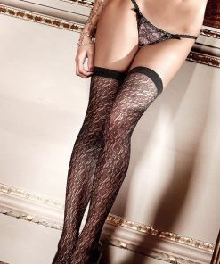 Baci Black Filigree Crochet Thigh Highs