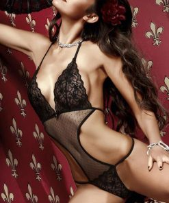 Baci Black Dotted Tulle Teddy with Lavish Pattern