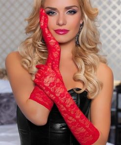 Seven Til Midnight Red Floral Lace Gloves