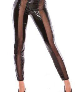 Allure Enticing Wet Look & Mesh Leggings