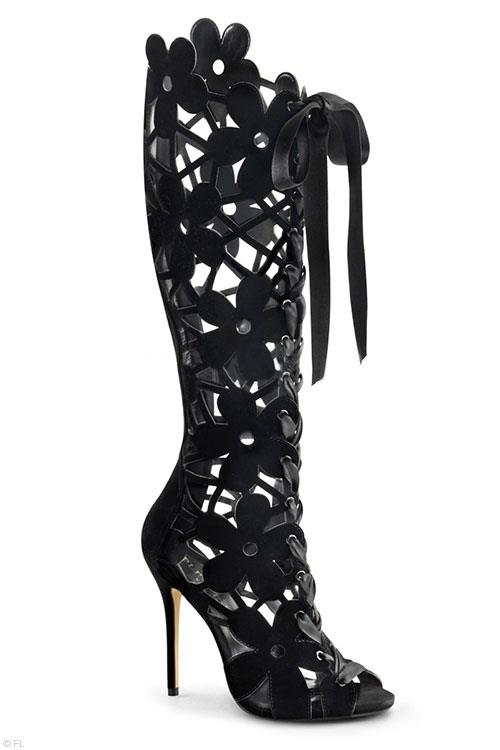 "Fabulicious 5"" Daisy Floral Cut Out Boot"