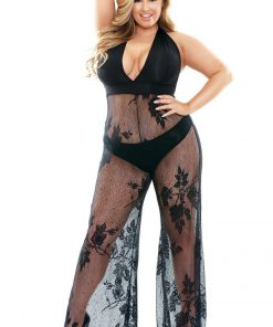 Curve - Nicki Stretch Micro & Lace Halter Jumpsuit With Panty (1X/2X)