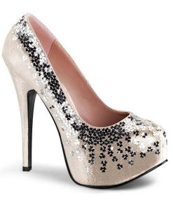 "Fabulicious by Pleaser 5 3/4"" Blush Sequin Adorned Pump"