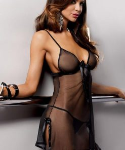 Casmir Black Silky Sheer Chemise with Thong