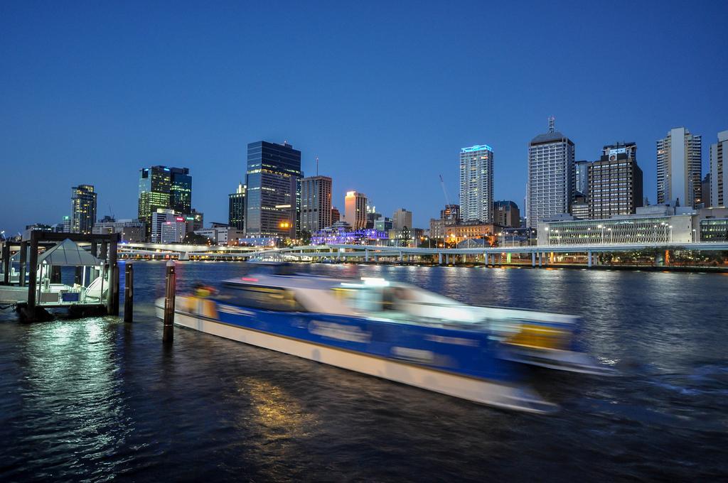 Brisbane CBD and a CityCat