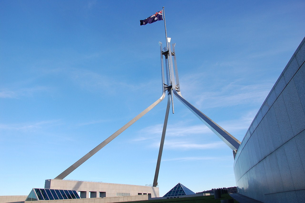 Flag atop Parliament House, Canberra, ACT