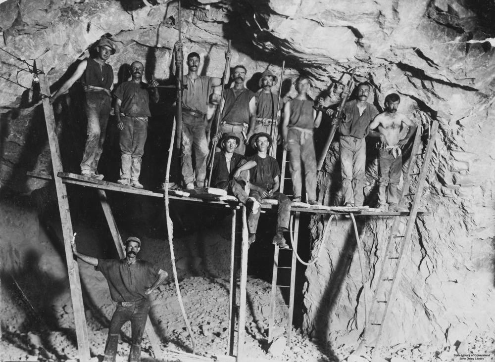 Miners working in a gold mine at Gympie, Queensland Miners Gympie Qld