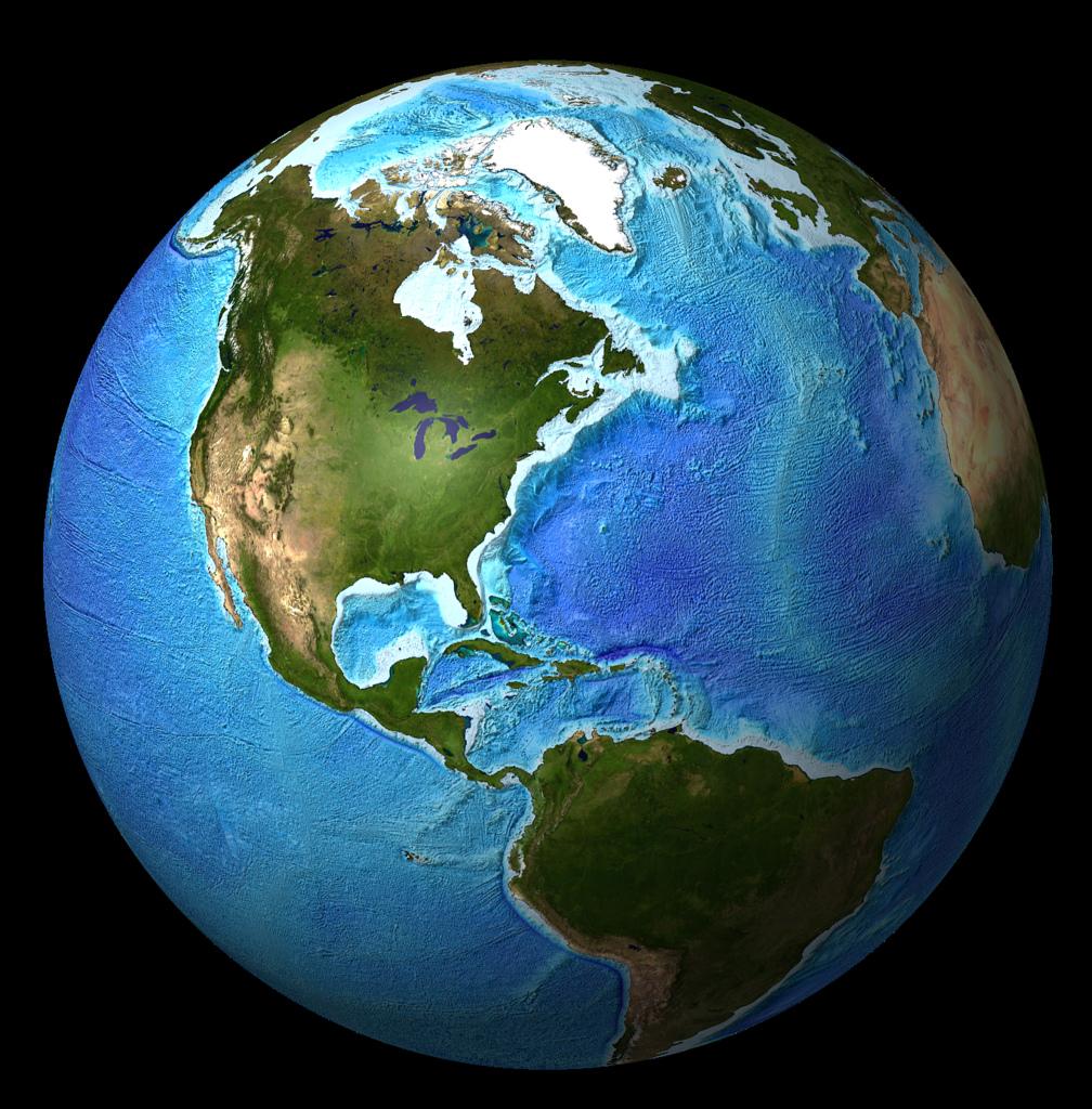 Global Bathymetry DEM With Satellite Landmass (Version 2, Globe)