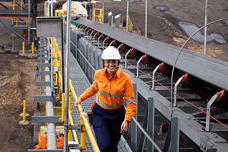 Woman at the Lake Vermont Coal mine in Queensland_opt