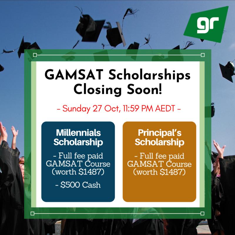 GAMSAT Millennials & Principal's Scholarships Closing Soon