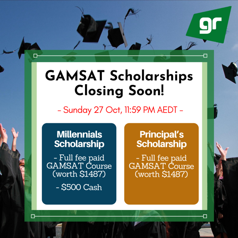 GAMSAT Millennials & Principal's Scholarships Closing Soon