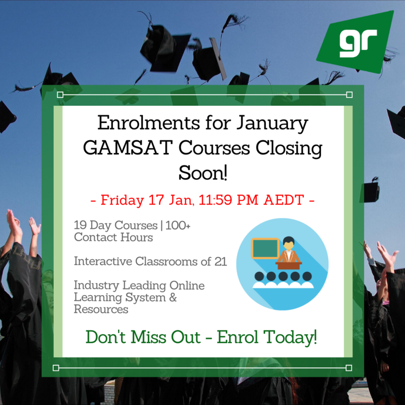 January 2020 GAMSAT Course Closure
